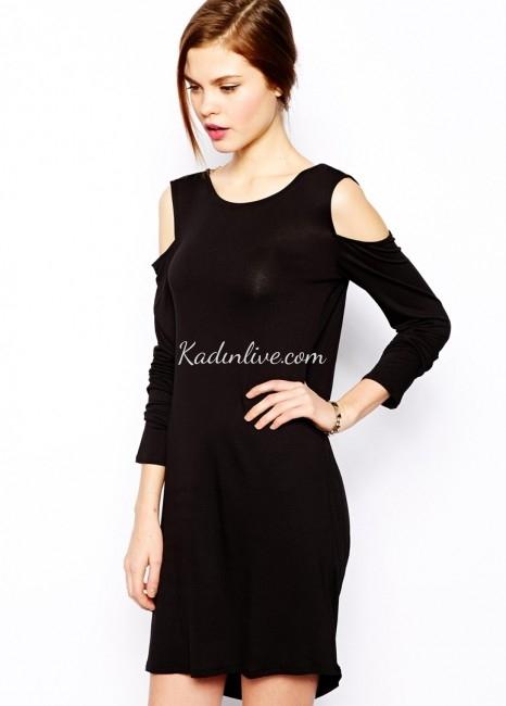 Siyah Omzu Açık Şık Elbise Modeli 2016