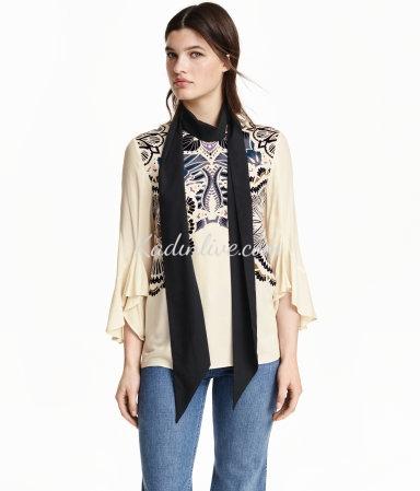 H&M Kolları Fırfırlı Yazlık Bluz Modelleri