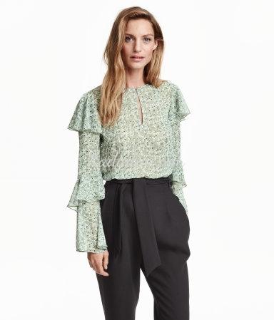 H&M Krinkle Şifon Bluz Modelleri Yeni Sezon