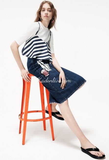 Zara Armalı Denim Jeans (Kot) Etek Modelleri