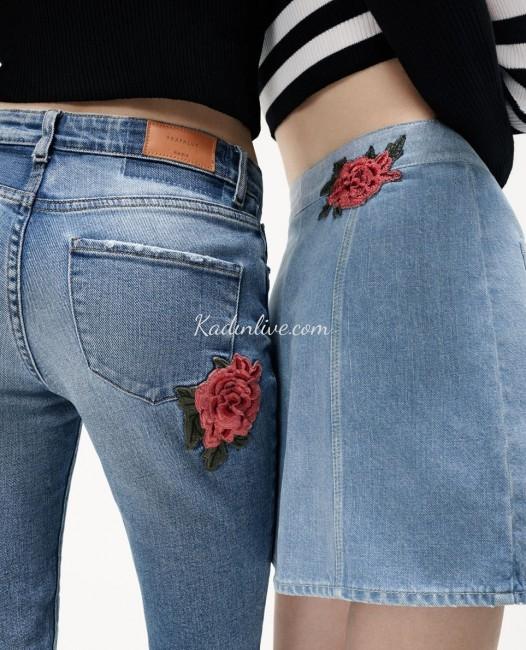 Zara Denim Jeans (Kot) Çiçek Armalı Kot Pantolon Modelleri