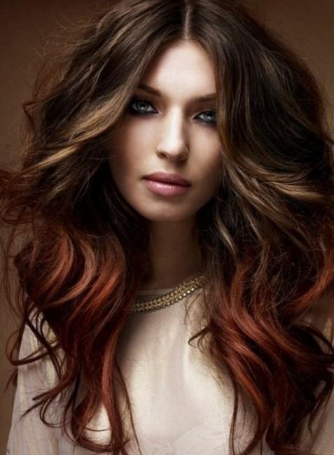 Kızıl kahve Kestane Saç Rengi Dalgalı Saç Modelleri