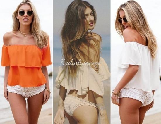 Kayık Yaka Bluz Bikini Üstü Kombinleri