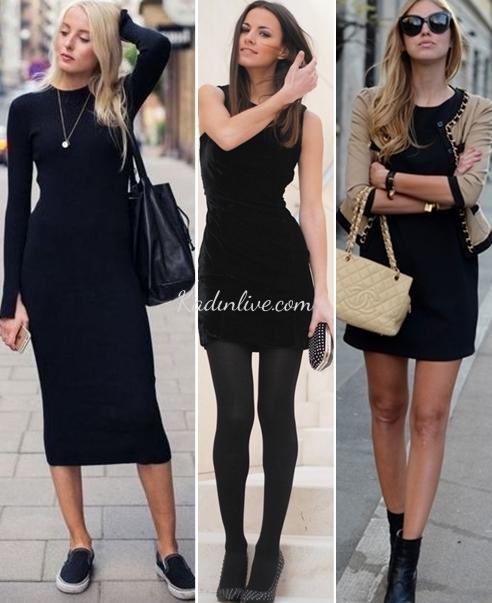 Siyah Elbise Abartısız Sokak Kombinleri