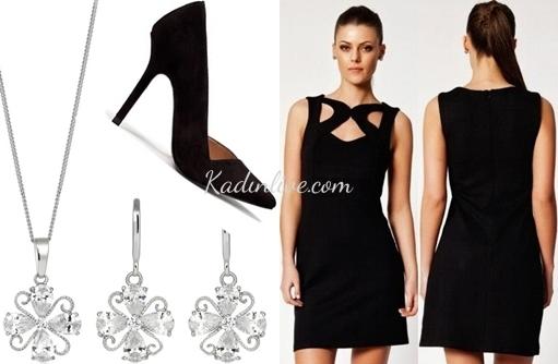 Siyah Elbise Kolye