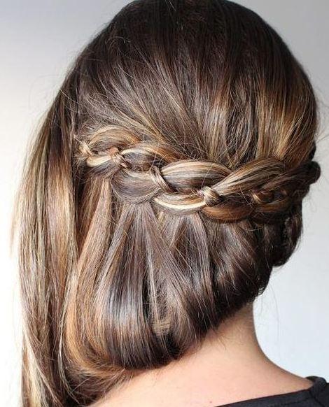 Uzun Düz Saçlar İçin Şelale Örgü Saç Modeli