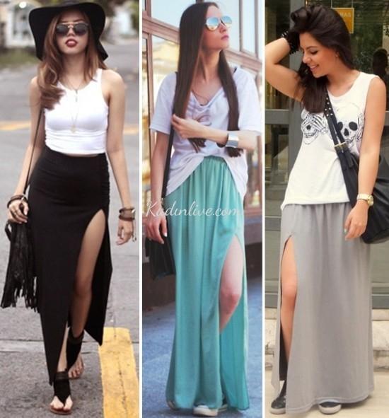 Uzun Yırtmaçlı Elbise Kombinleri