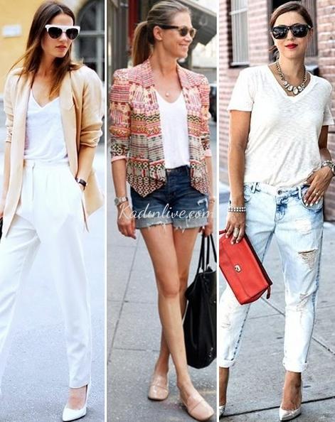 V Yakalı Beyaz Tişört Kombinleri
