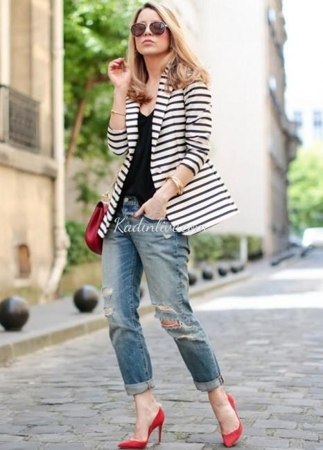Yırtık Bilek Boy Jean Çizgili Blazer Ceket Kombini