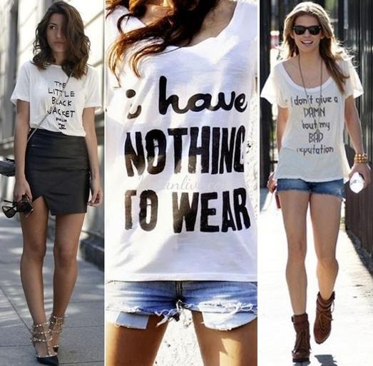 Yazılı beyaz tişört Sokak Modası Kombinleri