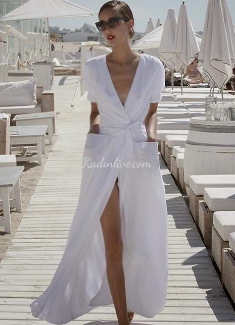 Derin Yırtmaçlı Anvelop Elbise Modelleri Trendy