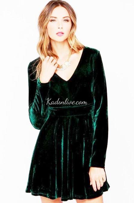 eecc8de725e8c Salaş Yeşil Kadife Kısa Abiye Elbise Modelleri - Kadinlive.com